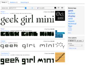 "Texten ""geek girl mini"" skrivet med olika logotyper."