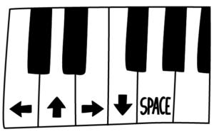 Bild på ritat piano med en oktav, med pil-symboler på några tangenter.