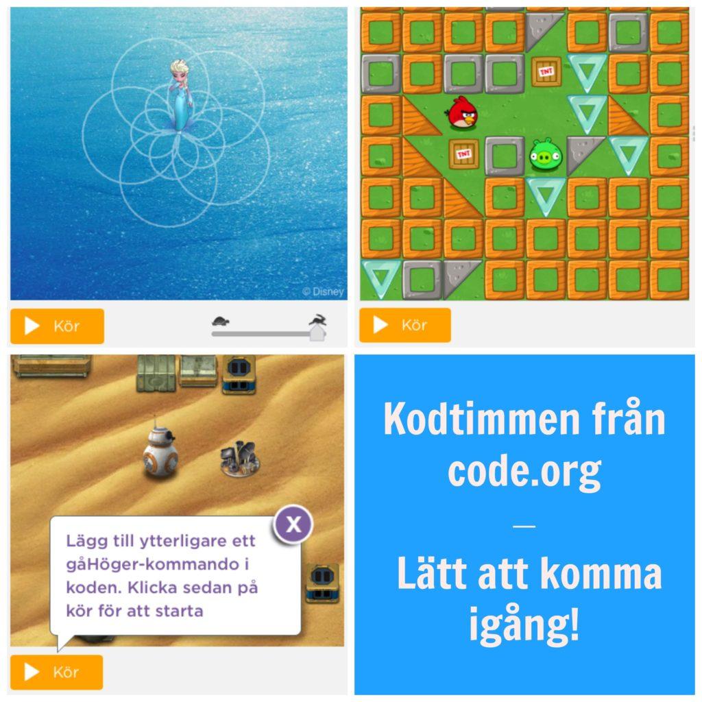 Exempel på aktiviteter från kodtimmen från code.org (Anna och Elsa, Angry Birds och Star Wars).