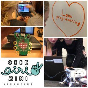 """Kollage med bilder från Geek Girl Mini Linköping: tjejer som programmerar på code.org, en code bug, hjärta med """"love programmering"""", loggan och tjejer som proggrammerar Lego Mindstorms."""