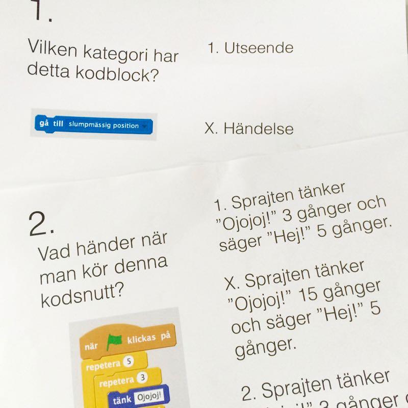 Foton på två frågor i Scratch-tipsrunda.
